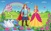Beautiful elf Princess, Prince, Swan.  King and Queen. Fairytale background. Flower meadow, castle, rainbow, lake. Wonderland. Magical landscape. Children cartoon illustration. Romantic story. Vector.