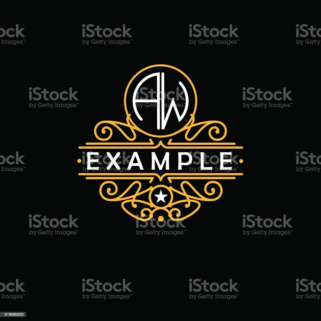 Beautiful emblem, badge, monogram, for template logo in the style vector art illustration