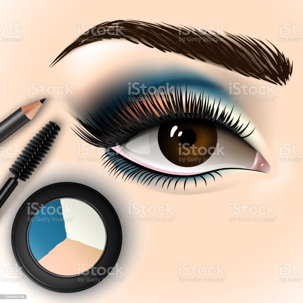 Schöne Augen Mit Makeup Accessoires Stock Vektor Art und mehr Bilder von  Accessoires