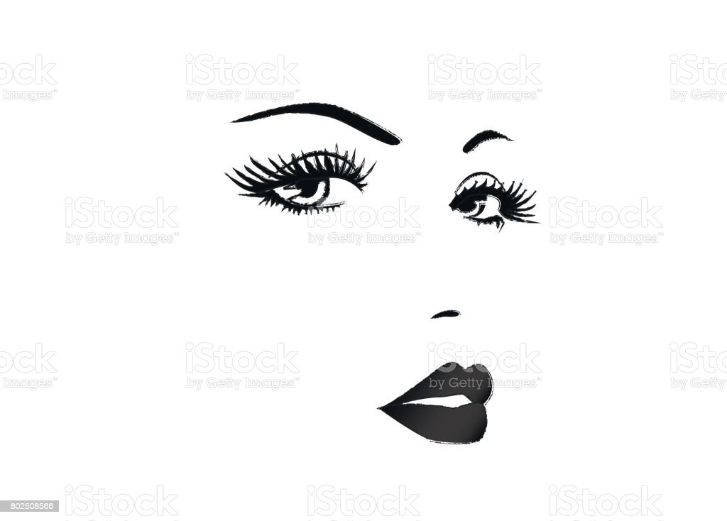 Beautiful face of a woman, black and white vector illustration vector art illustration