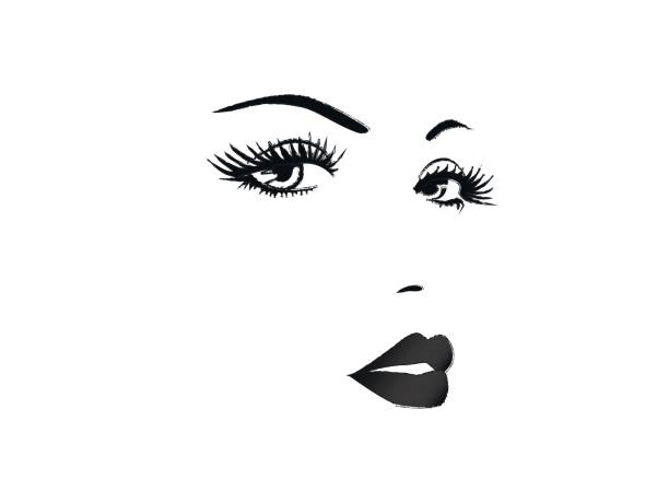 beautiful face of a woman, black and white vector illustration - female faces stock illustrations, clip art, cartoons, & icons