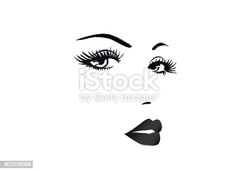 beautiful face of a woman black and white vector