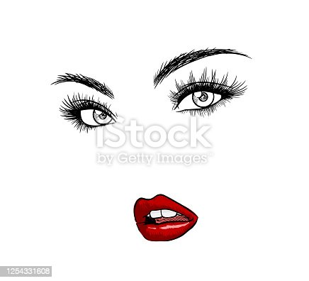istock Beautiful face of a woman, hand drawn vector illustration of beautiful woman's eyes and lips, isolated in white background. 1254331608