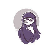 beautiful face of arabic muslim woman, vector illustration for your logo, label, emblem