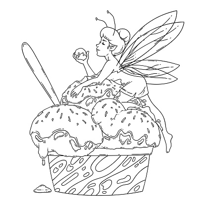 Beautiful fairy lies on balls of ice cream. Outline black and white art. Food art, summer refreshing concept, traditional seasonal cold sweets. Coloring page. Fairytale vector illustration.