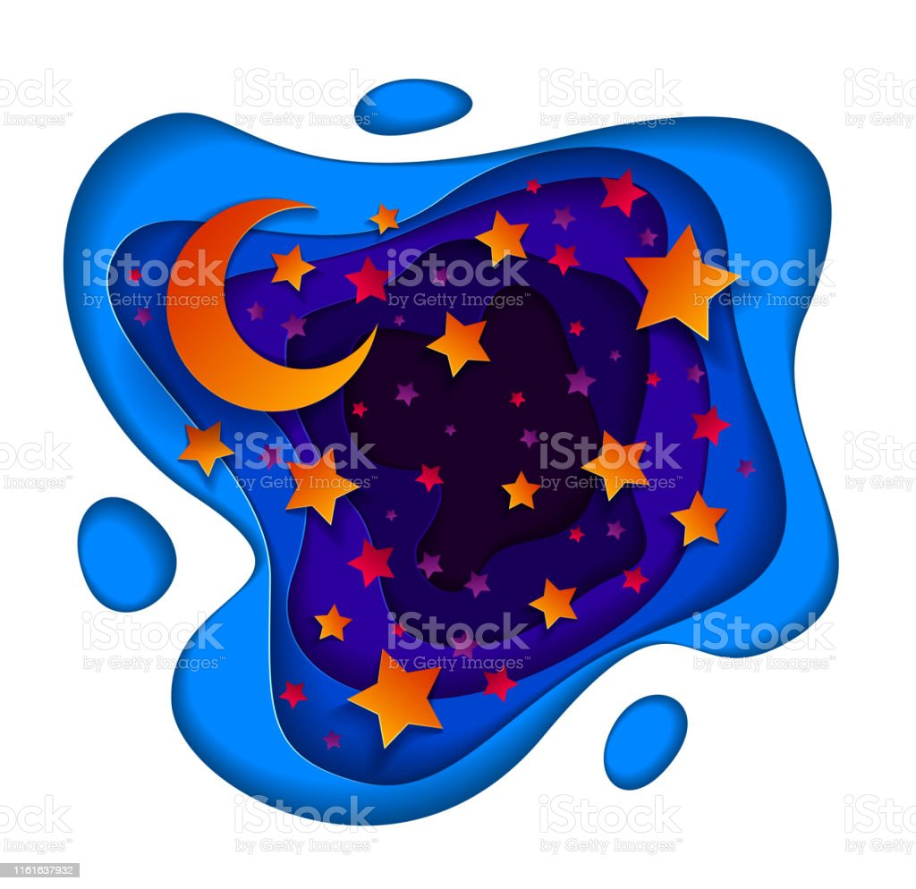 Beautiful Fairy Night With Deep Blue And Violet Curve Line