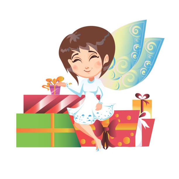 ilustrações de stock, clip art, desenhos animados e ícones de beautiful fairy with wings sitting on gifts. vector illustration. - tape face