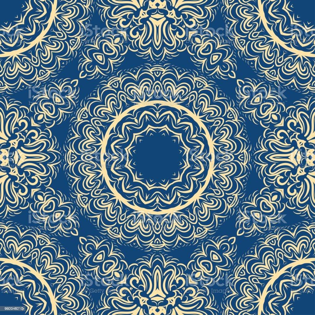 美しいファンタジーの花飾りシームレスなアールデコ パターンベクトル