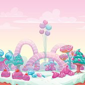 Beautiful fantasy sweet world background. Candy land vector illustration.
