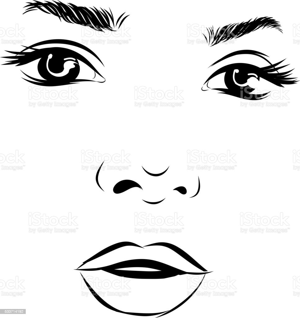 Beautiful fashion woman portrait for make up on background. Vector vector art illustration