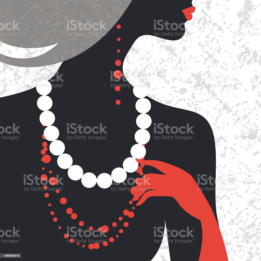 Beautiful fashion woman silhouette vector art illustration