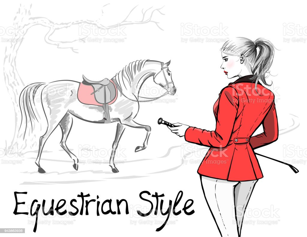 Beautiful Fashion Woman With English Equestrian Sport Hunting Style Red Jacket And Horse With Saddle Stock Illustration Download Image Now Istock