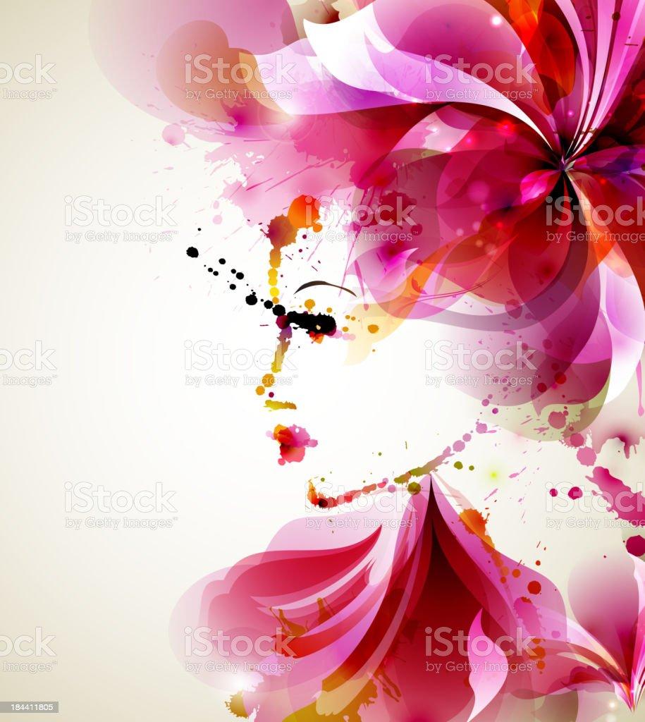 Beautiful fashion women vector art illustration