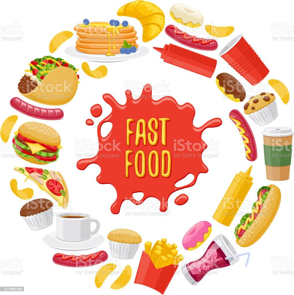 Hermoso fondo redondo de iconos de comida rápida - ilustración de arte vectorial