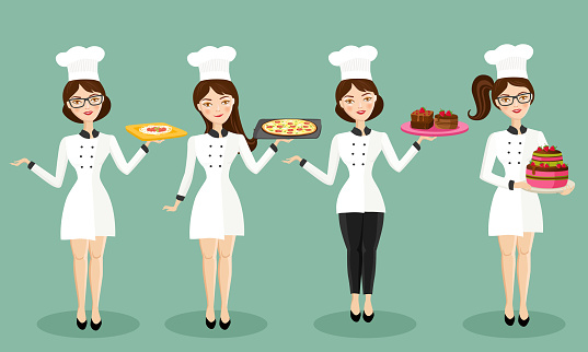 Beautiful Female Chef Character Set Stock Vector Illustrations
