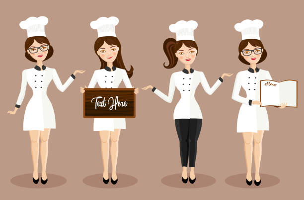 illustrazioni stock, clip art, cartoni animati e icone di tendenza di beautiful female chef character set vector illustration - portrait of waiter and waitress holding a serving