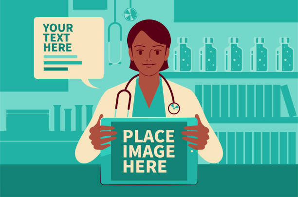 美麗的女醫生顯示數位平板電腦螢幕, 並在醫療診所給你建議, 在 covid - 19 時代做遠程醫療 - medical technology 幅插畫檔、美工圖案、卡通及圖標