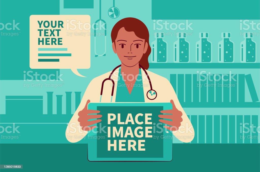 美麗的女醫生顯示數位平板電腦螢幕, 並在醫療診所給你建議, 在 COVID - 19 時代做遠程醫療 - 免版稅2019冠狀病毒病圖庫向量圖形