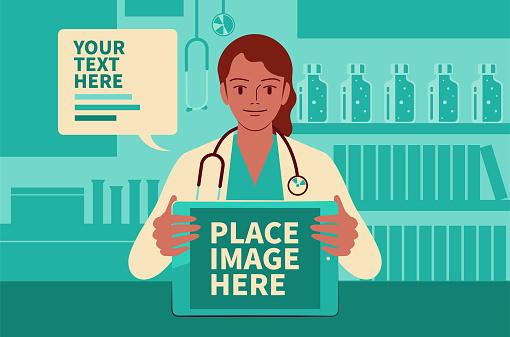 美麗的女醫生顯示數位平板電腦螢幕 並在醫療診所給你建議 在 Covid 19 時代做遠程醫療向量圖形及更多2019冠狀病毒病圖片