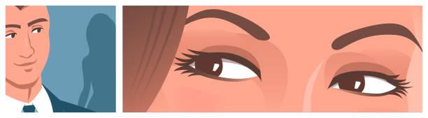 stockillustraties, clipart, cartoons en iconen met de mooie vrouwelijke ogen bekijken een jonge mens. - verleiding