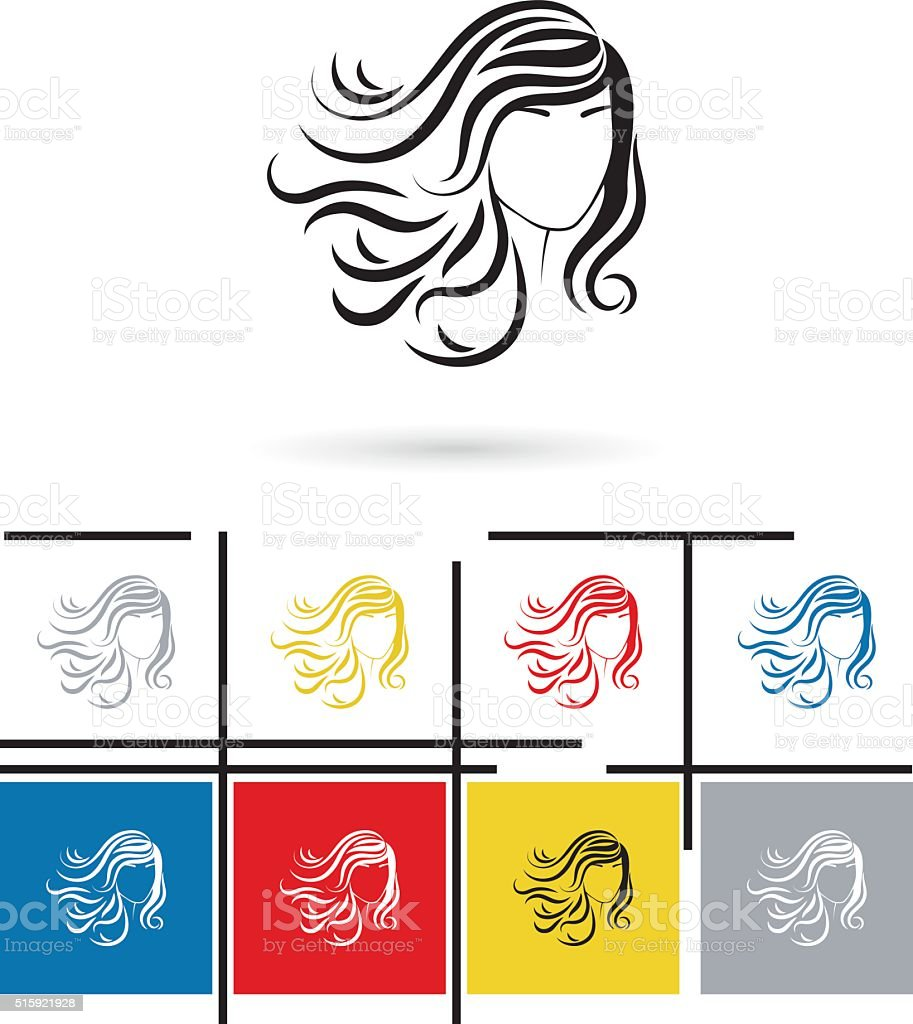 Beautiful female face icon vector vector art illustration