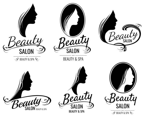 beautiful female face portrait, woman head silhouette vector logo templates for barber shop, beauty salon, cosmetic products, spa center - beauty salon stock illustrations, clip art, cartoons, & icons