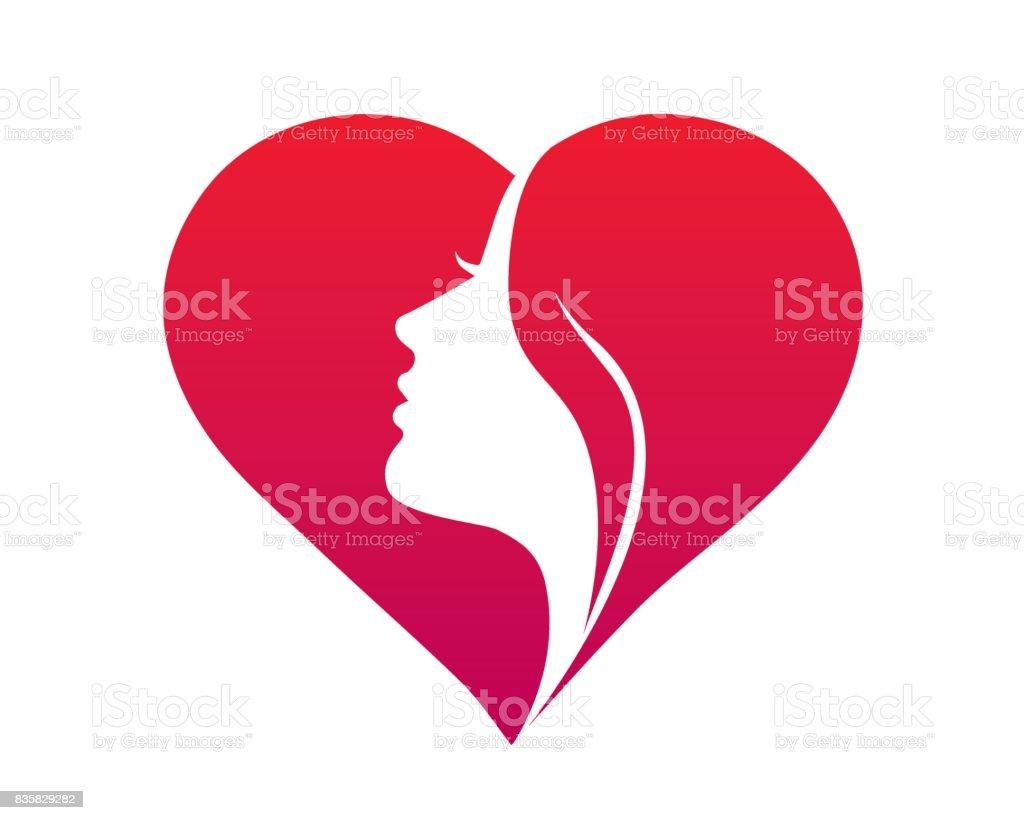 Beautiful Female Face Silhouette In A Love Icon Symbol Stock Vector