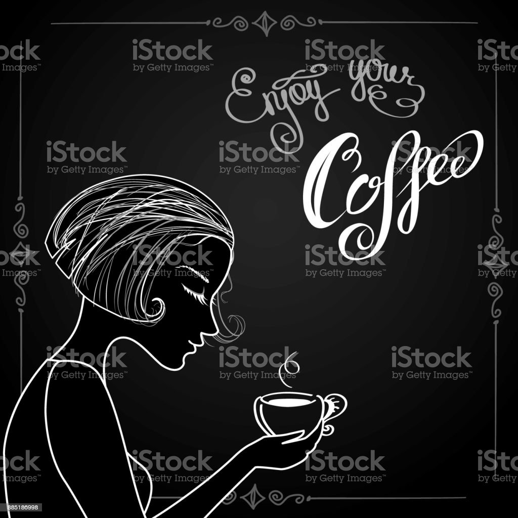 Beautiful female silhouette with a cup of coffee vector art illustration