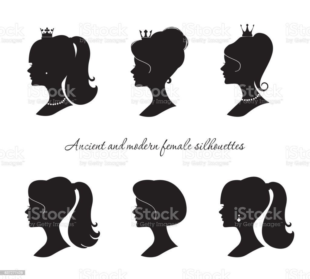 Beautiful female silhouettes set. Modern and ancient young woman profiles. Isolated on white. vector art illustration