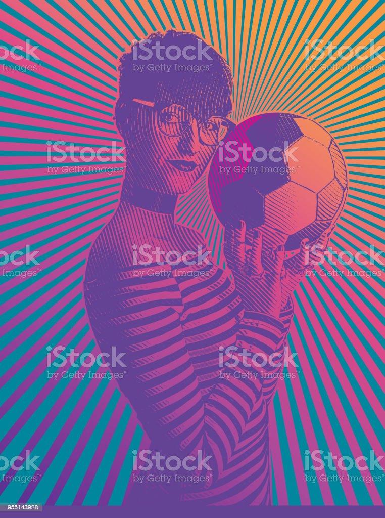 Fã de futebol feminino linda segurando futebol com padrão concêntrico meio tom - ilustração de arte em vetor