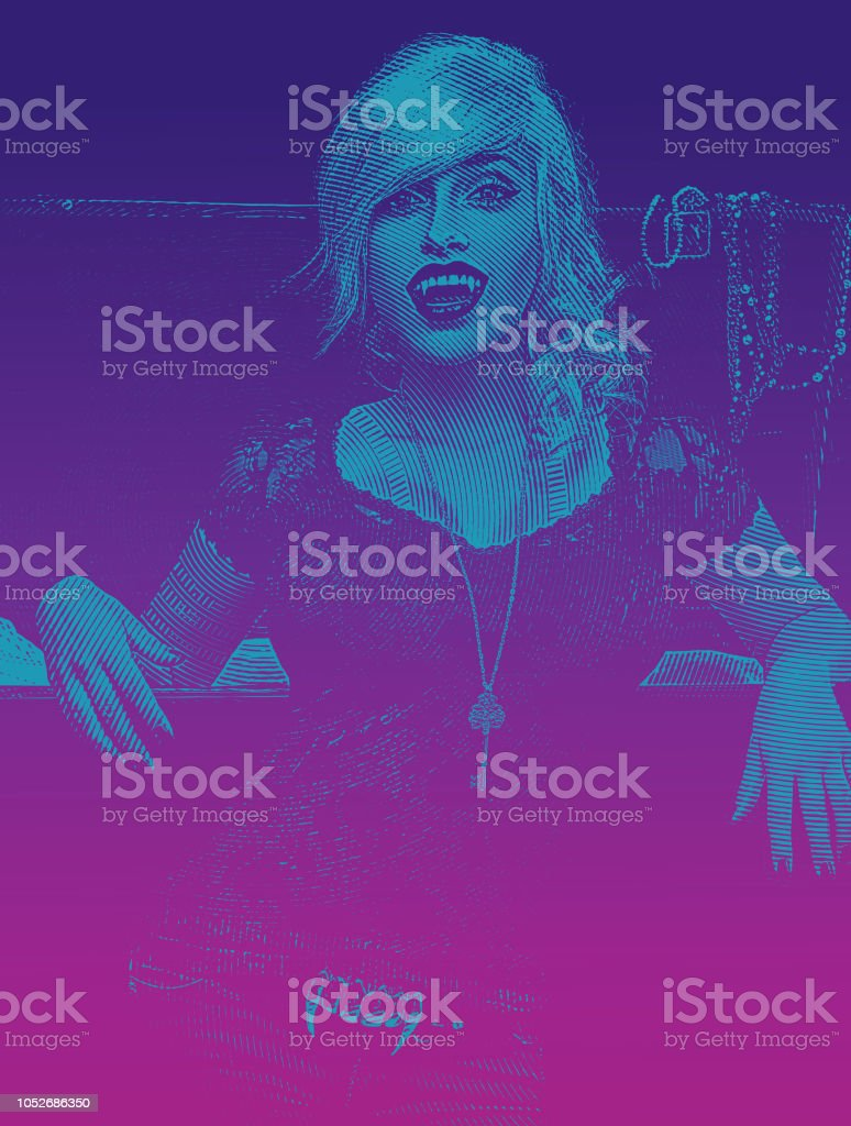 Beautiful Female Vampire And Open Coffin Stock Illustration