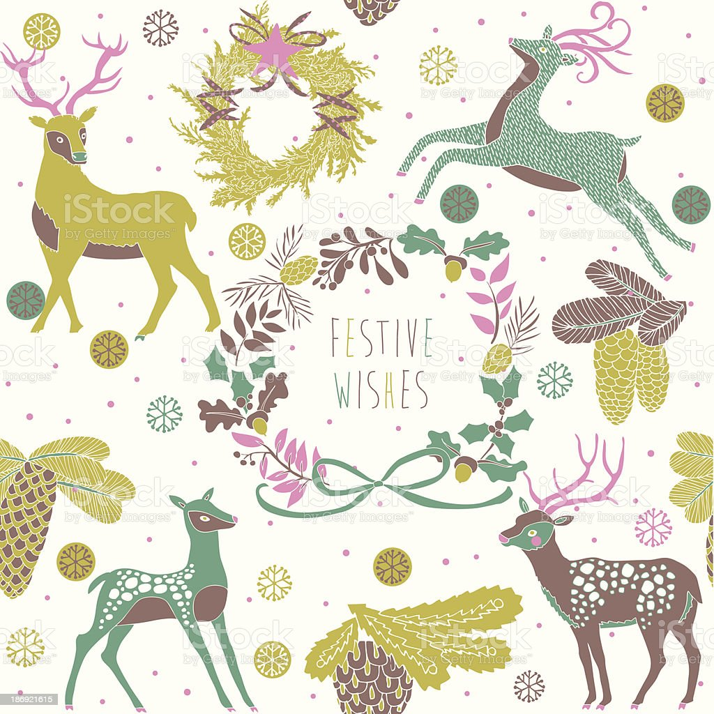 Beautiful Festive Wishes greeting card royalty-free stock vector art