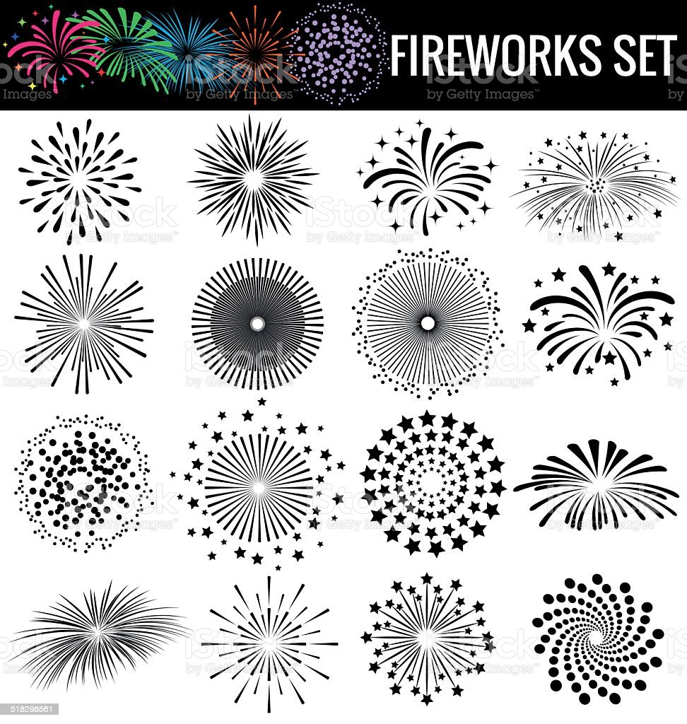 Beautiful Fireworks on white  background vector art illustration