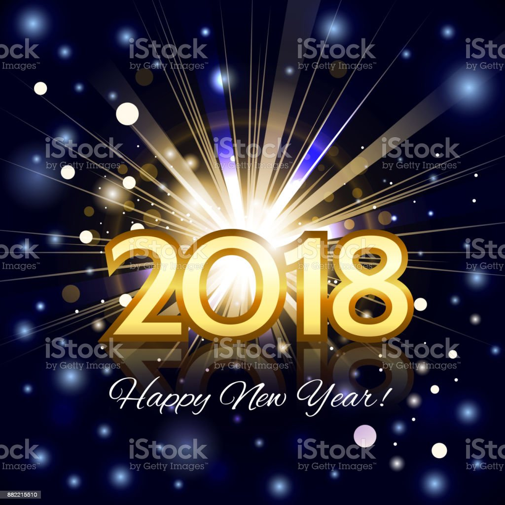 Beautiful fireworks with  greetings Happy New Year 2018! vector art illustration