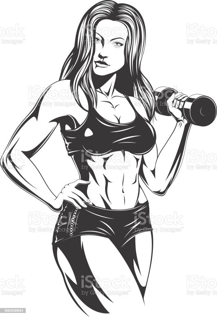 Beautiful fitness girl vector art illustration