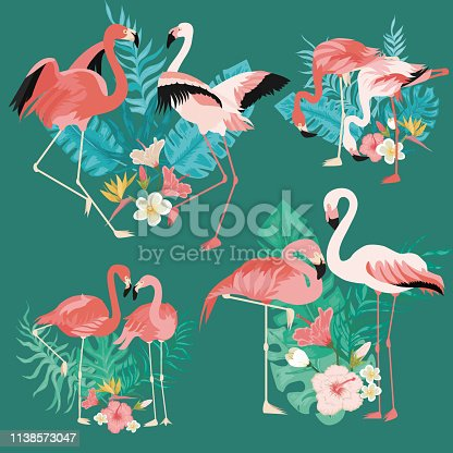 Beautiful flamingos with tropical palm leaves set. Pink flamingo and hibiscus vector illustration. Perfect for wallpapers. International Woman s Day concept. Isolated on green