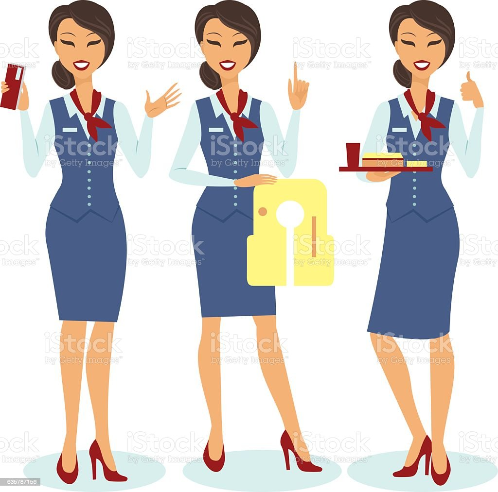 Beautiful flight attendants vector art illustration