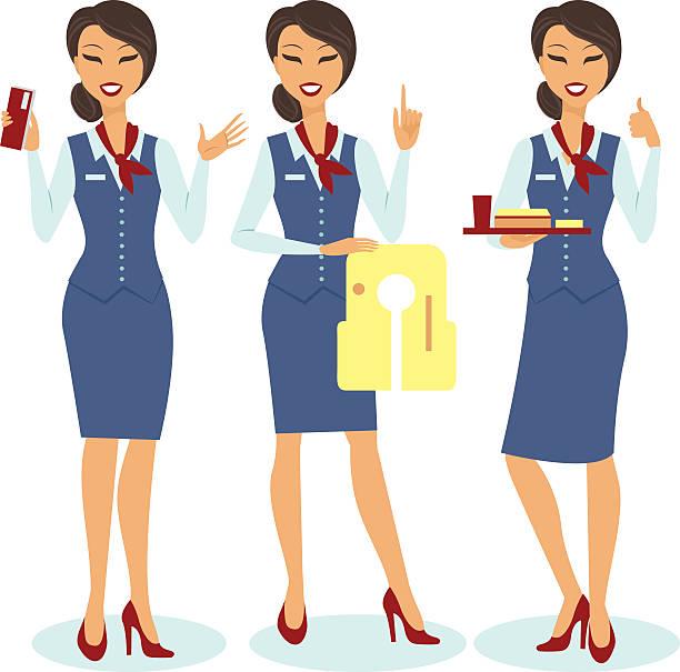 Beautiful flight attendants vector art illustration