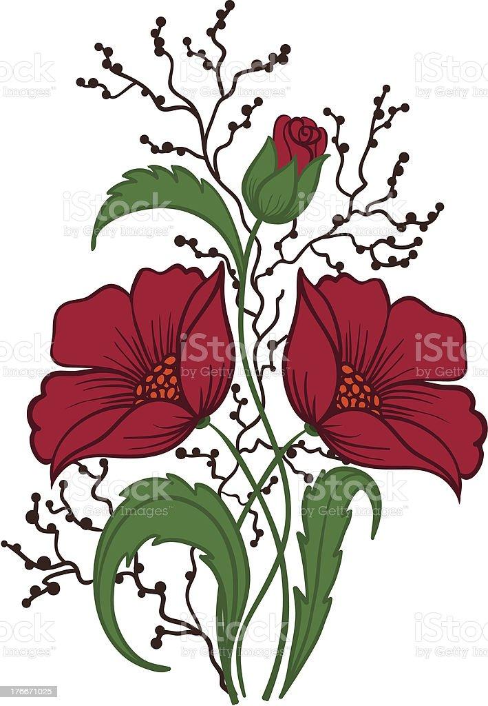 Hermosa Arreglo floral dibujo de la mano sobre un fondo blanco. ilustración de hermosa arreglo floral dibujo de la mano sobre un fondo blanco y más banco de imágenes de acurrucado libre de derechos