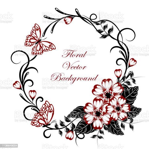 Beautiful floral background with butterflies in red and black colors vector id1136649004?b=1&k=6&m=1136649004&s=612x612&h=x7oho2dnkmtjzvpu2rj9jtzu y2nyyahf1ffr zyzxi=
