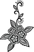 Beautiful floral Black-and-white flowers, leaves design element