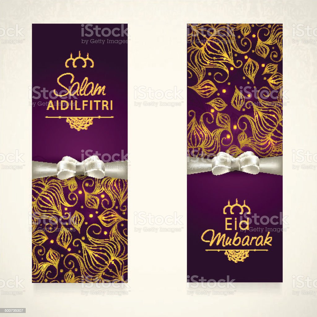 Beautiful floral decorated banner design with silver ribbon. vector art illustration