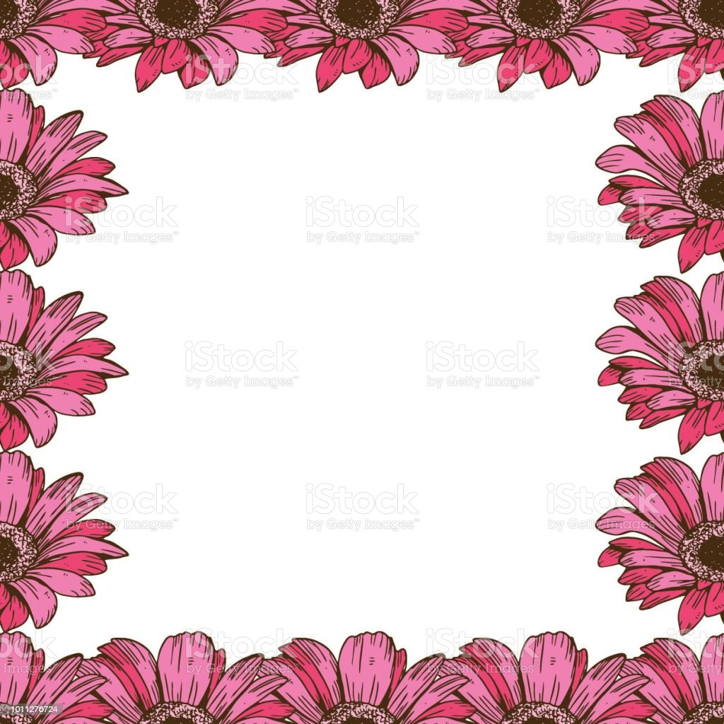 A Beautiful Floral Frame Of Pink Daisies Flower Design For Cards