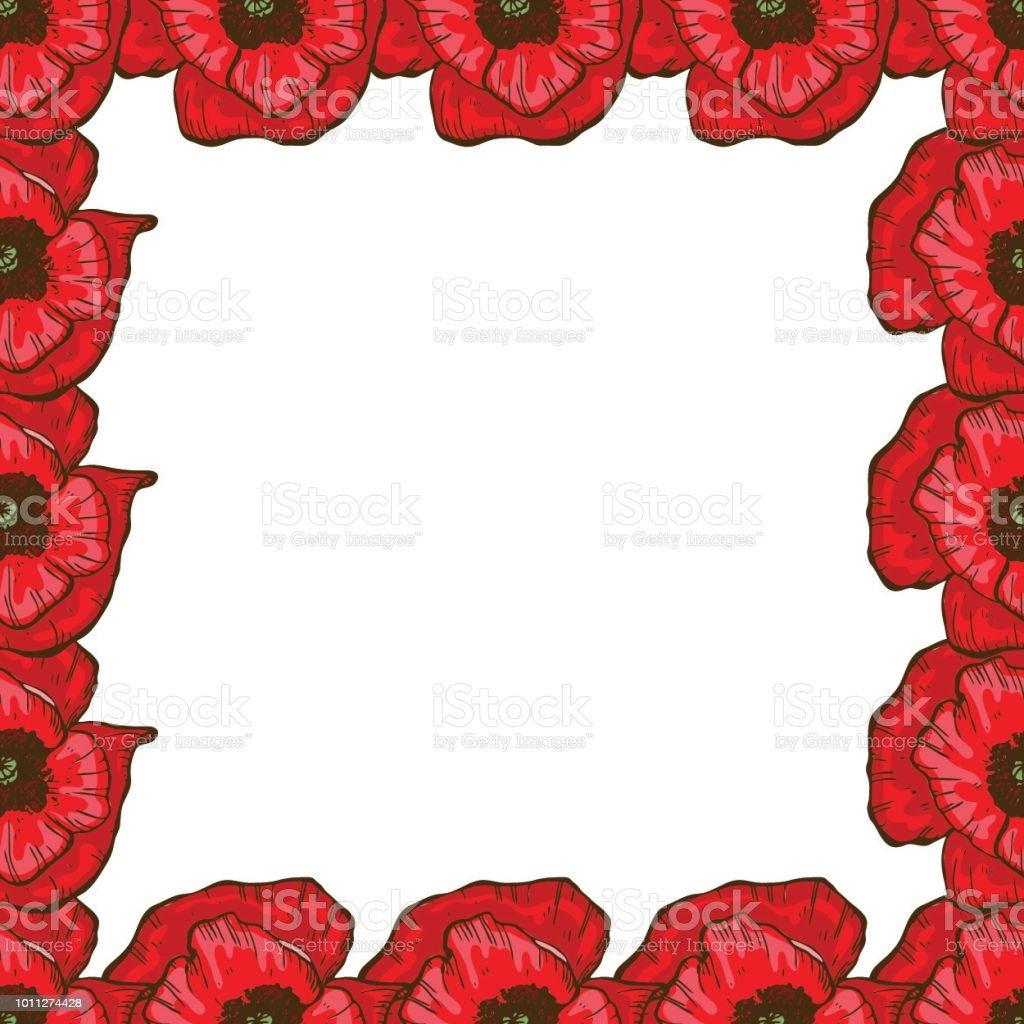 A beautiful floral frame of red poppies flower design for cards a beautiful floral frame of red poppies flower design for cards banners posters izmirmasajfo