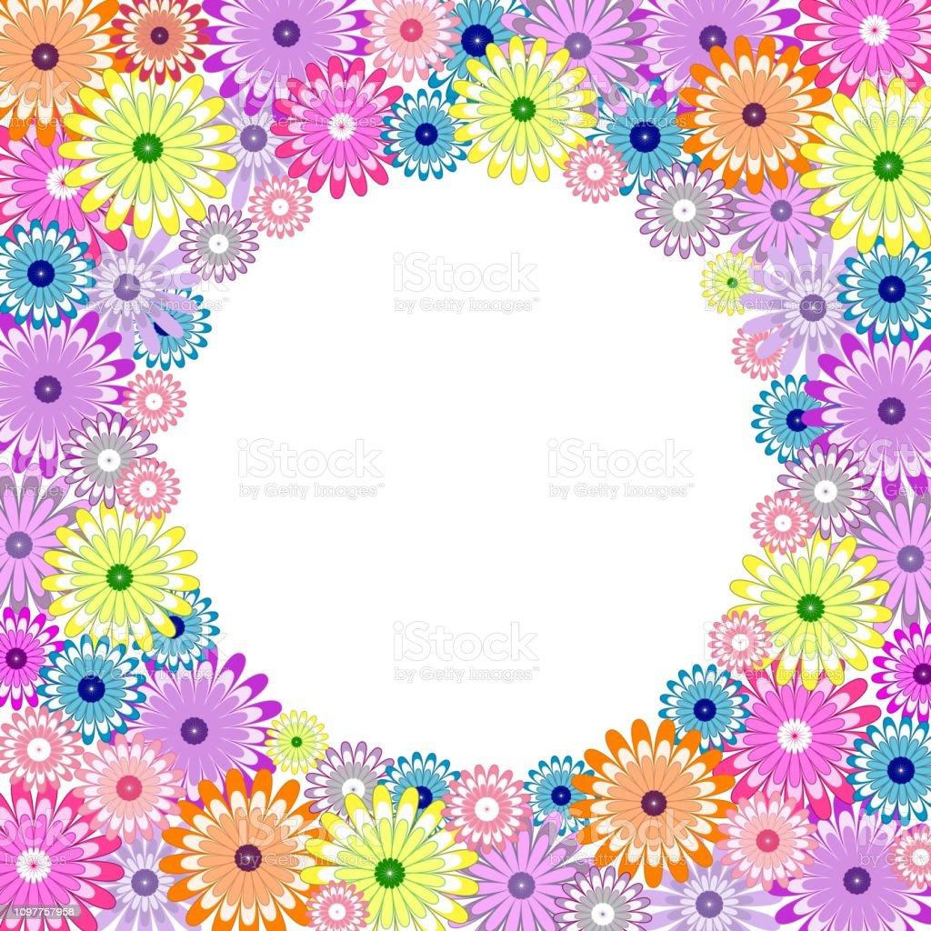 Vetores De Lindo Quadro Floral Com Flores De Camomila