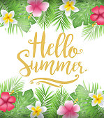 Beautiful Floral Hello Summer Poster with Tropical Leaves and Flowers