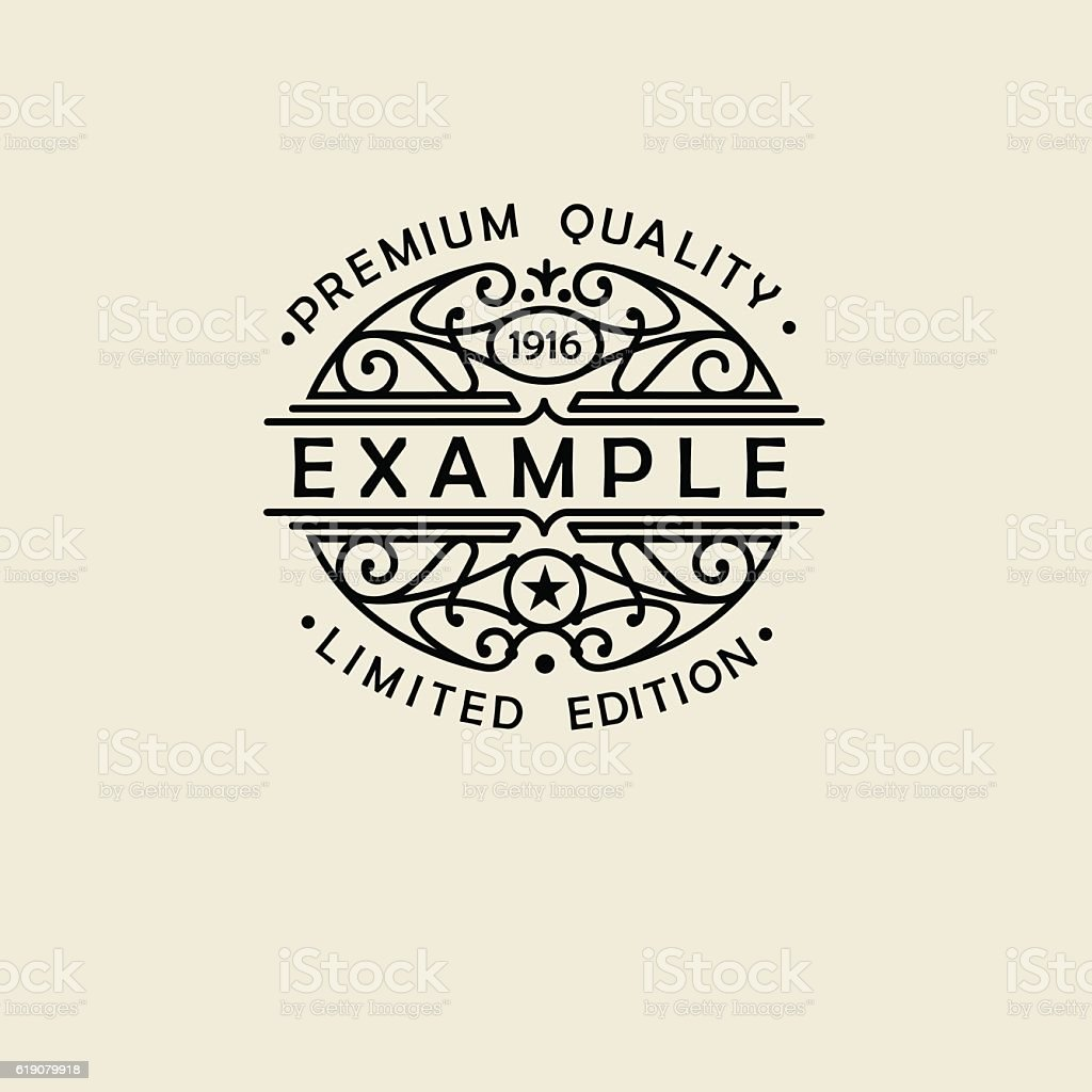 Beautiful floral Oval emblem, badge, monogram, for template logo in vector art illustration