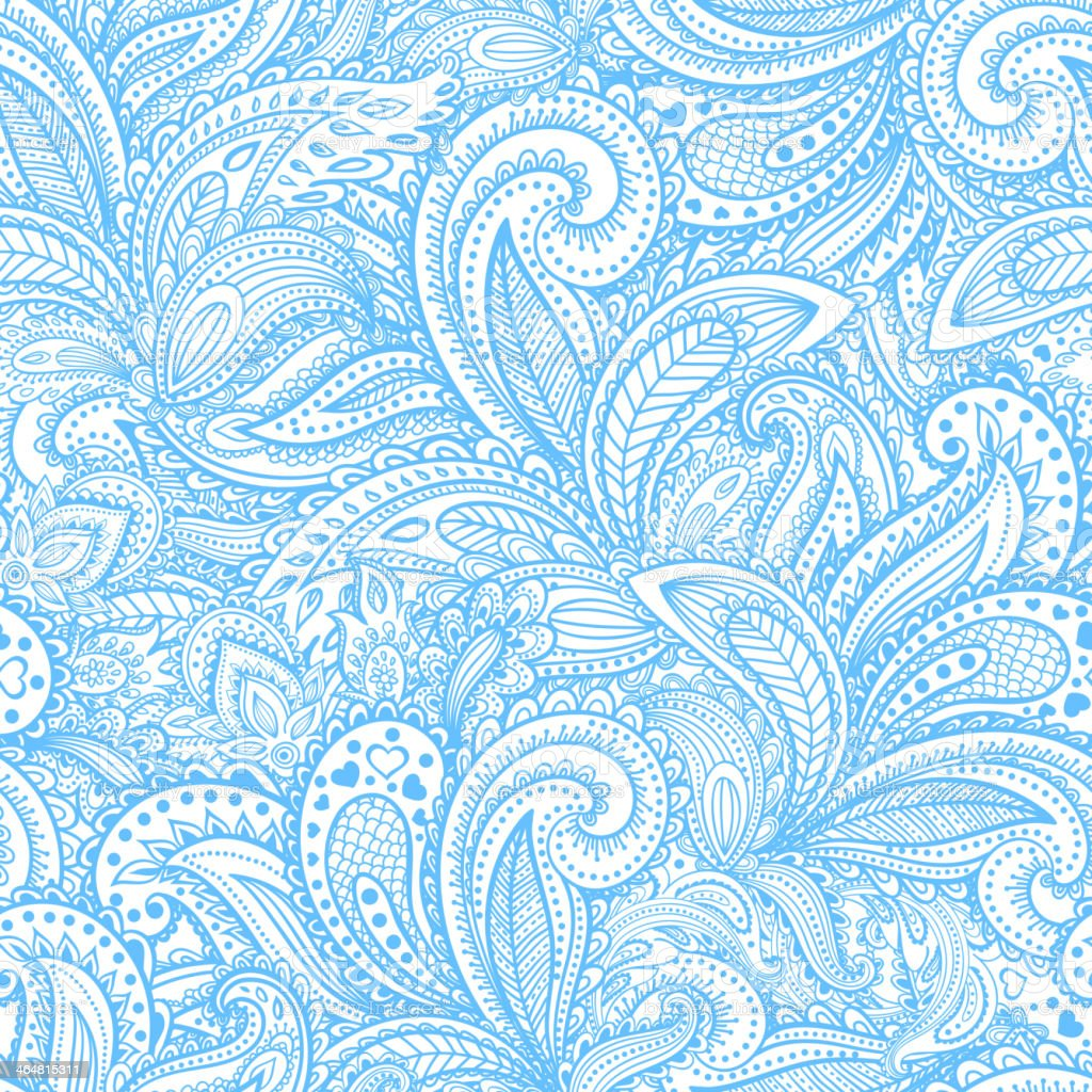 Beautiful floral paisley seamless vector art illustration