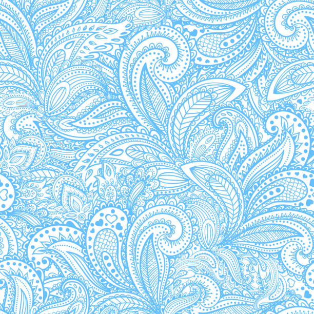 Beautiful floral paisley seamless Beautiful vintage floral seamless for your business lace textile stock illustrations