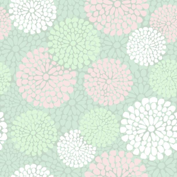美しい花柄にピンクとミントカラー、ベクター ベクターアートイラスト